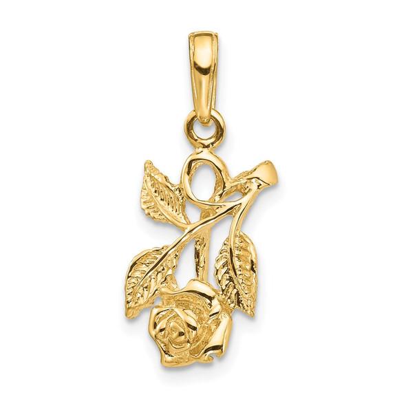 14k Yellow Gold Rose Pendant