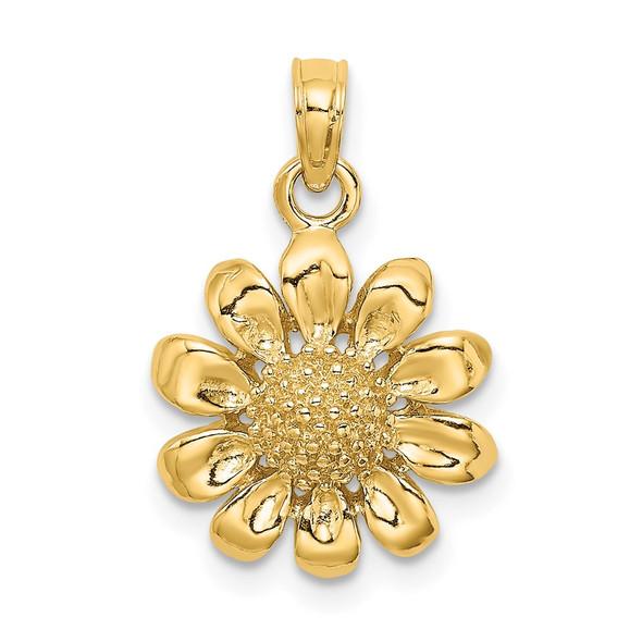 14k Yellow Gold 2-D Sunflower Pendant
