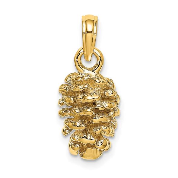 14k Yellow Gold 3D Pinecone Pendant