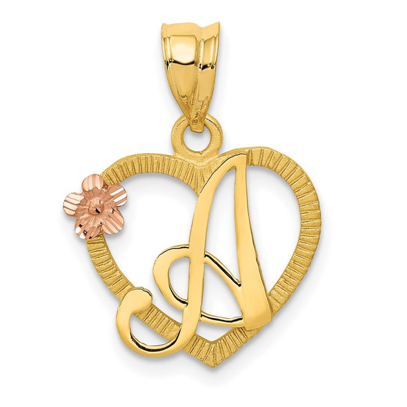 14k Yellow and Rose Gold Initial A In Heart Pendant