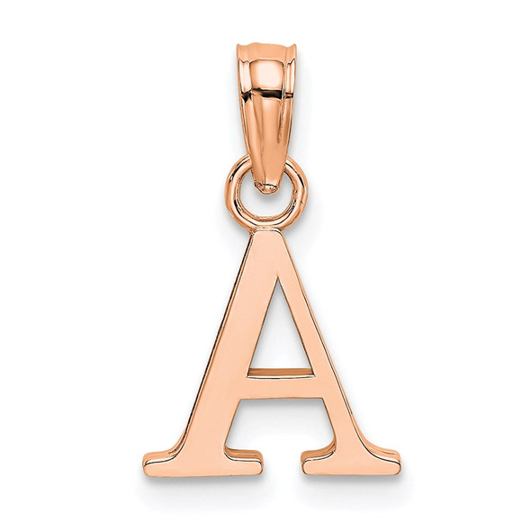 14k Rose Gold Polished A Block Initial Pendant