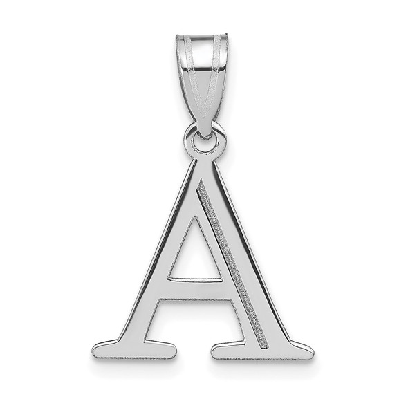 14k White Gold Polished Etched Letter A Initial Pendant