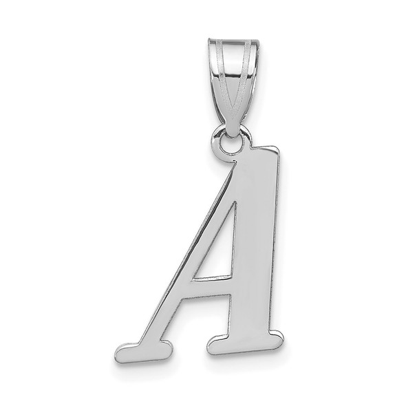 14k White Gold Polished Letter A Initial Pendant