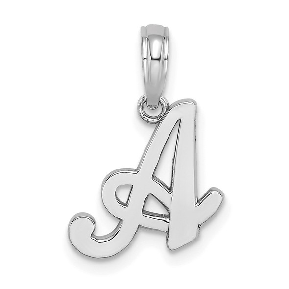 10k White Gold Polished A Script Initial Pendant
