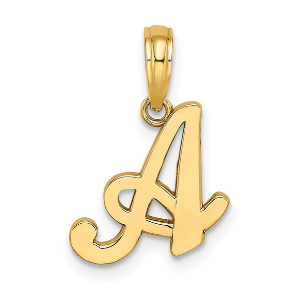 14k Yellow Gold Polished A Script Initial Pendant