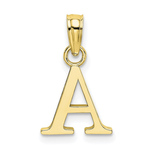 10k Yellow Gold Polished A Block Initial Pendant