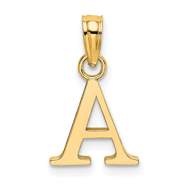 14k Yellow Gold Polished Letter A Initial Pendant K6423A