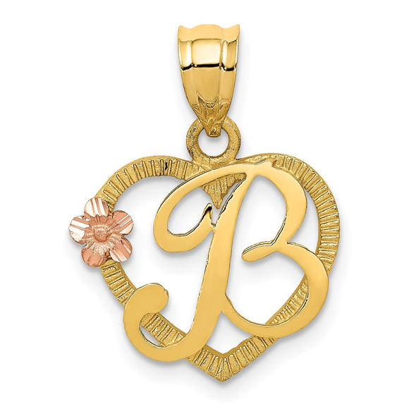 14k Yellow and Rose Gold Initial B In Heart Pendant