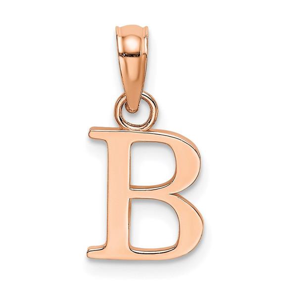 14k Rose Gold Polished B Block Initial Pendant