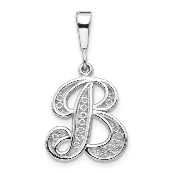 14K White Gold Solid Polished Filigree Initial B Pendant