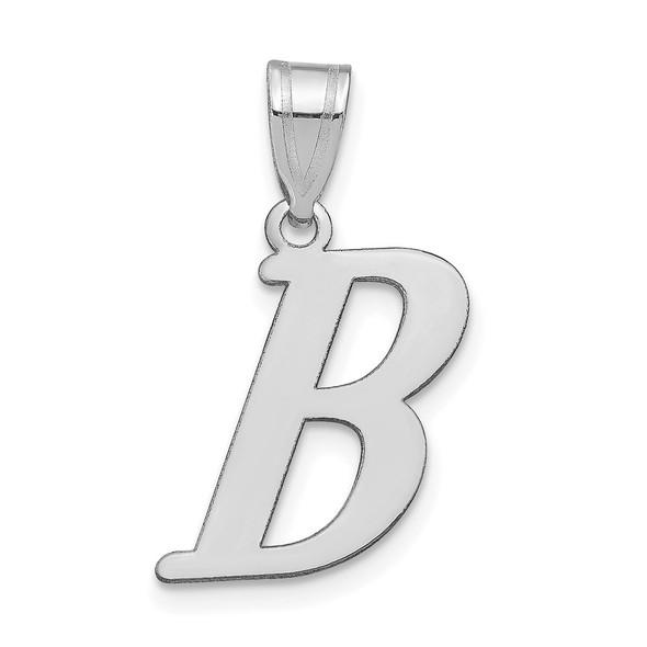 14k White Gold Polished Letter B Initial Pendant