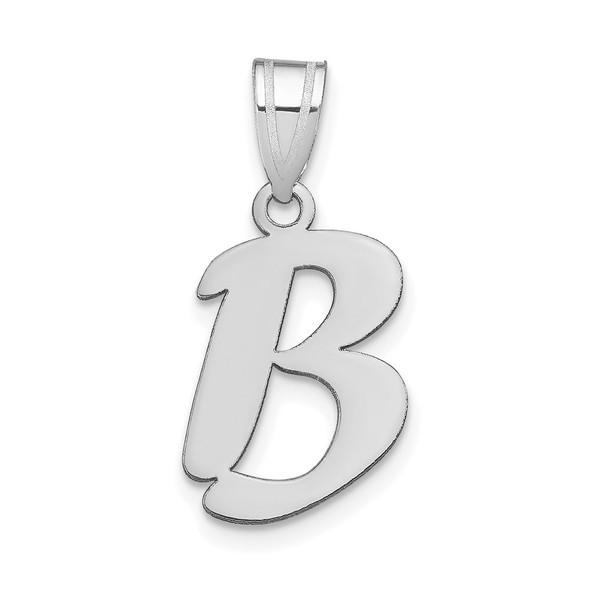 14k White Gold Polished Script Letter B Initial Pendant