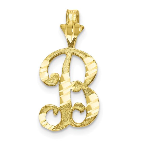 10k Yellow Gold Diamond-Cut Grooved Initial B Pendant