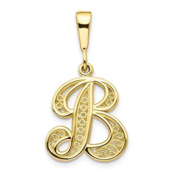 10k Yellow Gold Script Initial B Pendant