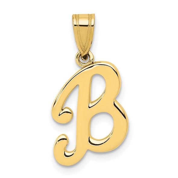 14k Yellow Gold B Script Initial Pendant