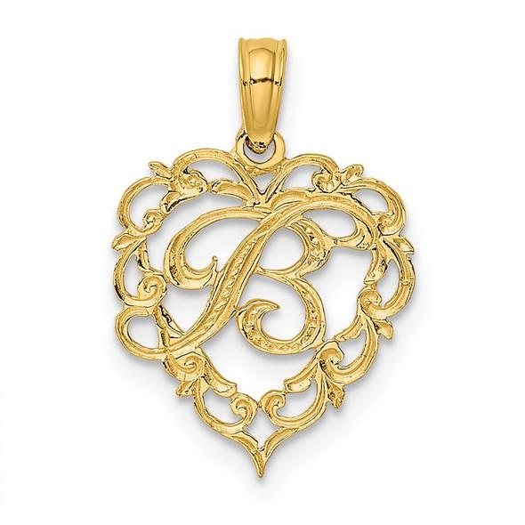 14k Yellow Gold B Script Initial In Heart Pendant