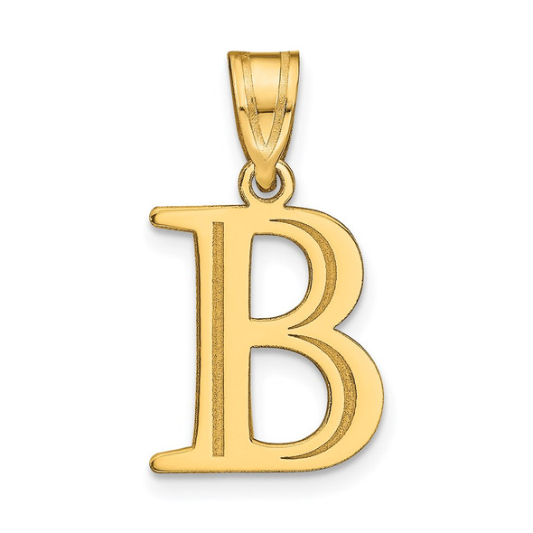 14k Yellow Gold Polished Etched Letter B Initial Pendant