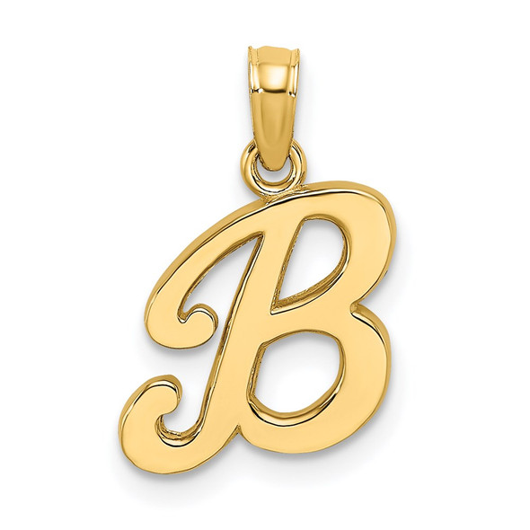 14k Yellow Gold Polished B Script Initial Pendant