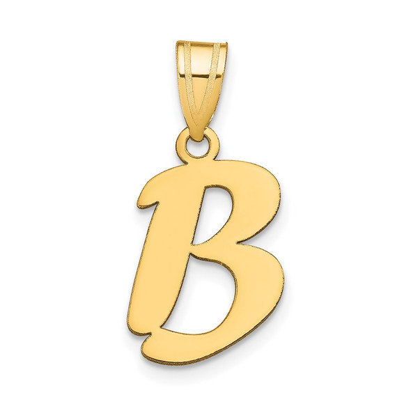 14k Yellow Gold Polished Script Letter B Initial Pendant