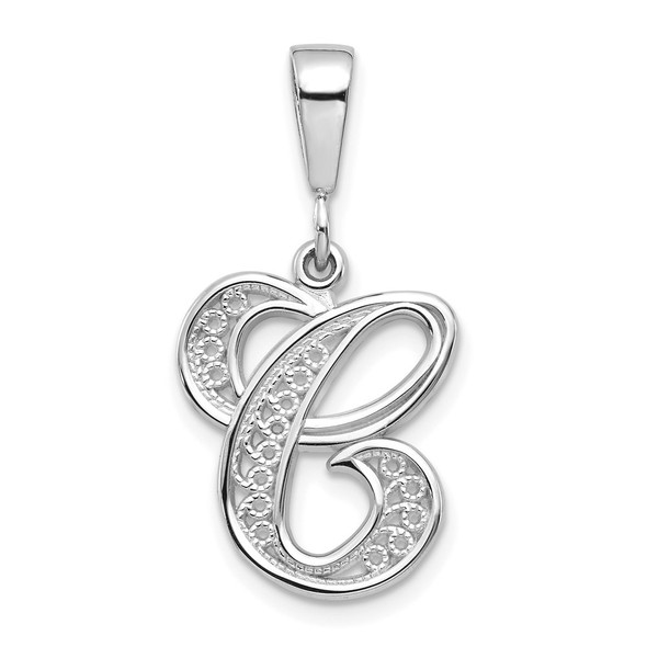 14K White Gold Solid Polished Filigree Initial C Pendant