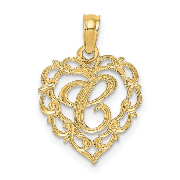 14k Yellow Gold C Script Initial In Heart Pendant