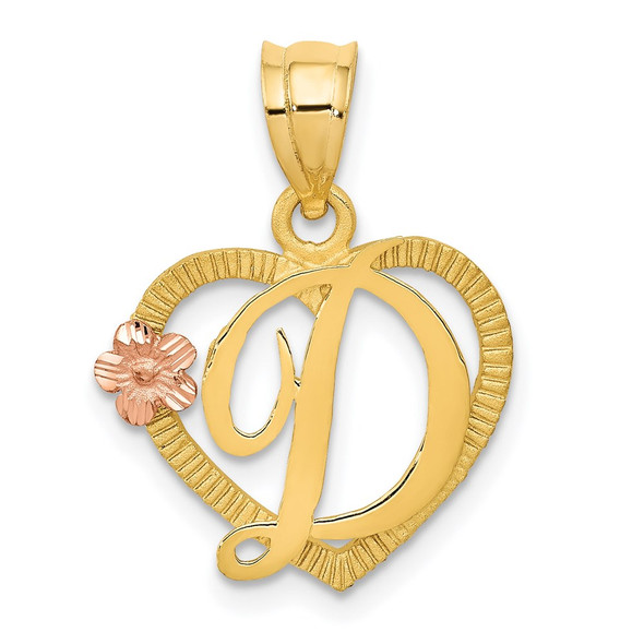 14k Yellow and Rose Gold Initial D In Heart Pendant