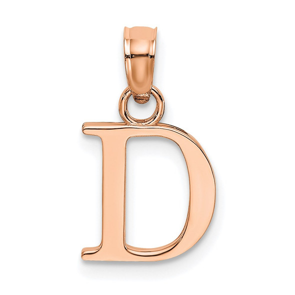 14k Rose Gold Polished D Block Initial Pendant