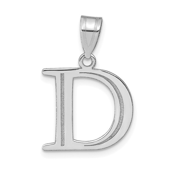 14k White Gold Polished Etched Letter D Initial Pendant