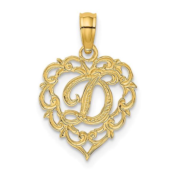14k Yellow Gold D Script Initial In Heart Pendant