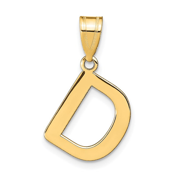 14k Yellow Gold Polished Bubble Letter D Initial Pendant