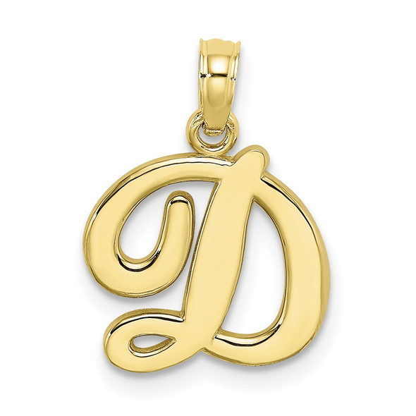 10k Yellow Gold Polished D Script Initial Pendant