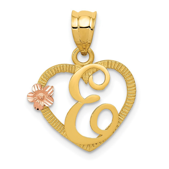 14k Yellow and Rose Gold Initial E In Heart Pendant