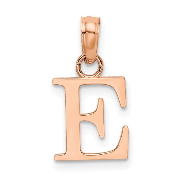14k Rose Gold Polished E Block Initial Pendant