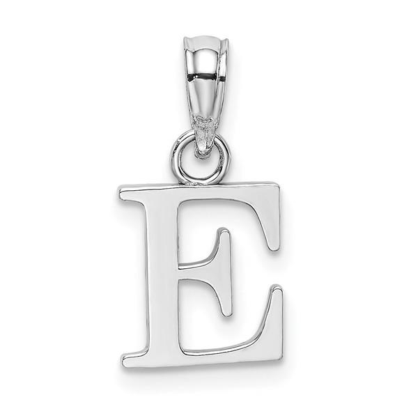 14k White Gold Polished E Block Initial Pendant