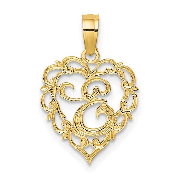 14k Yellow Gold E Script Initial In Heart Pendant