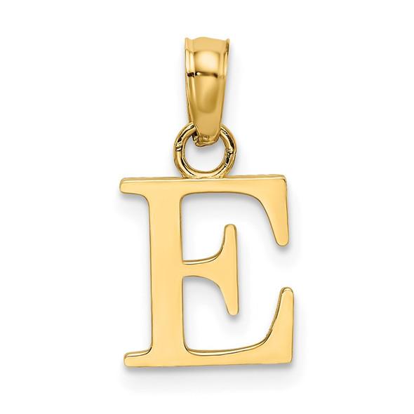 14k Yellow Gold Polished E Block Initial Pendant