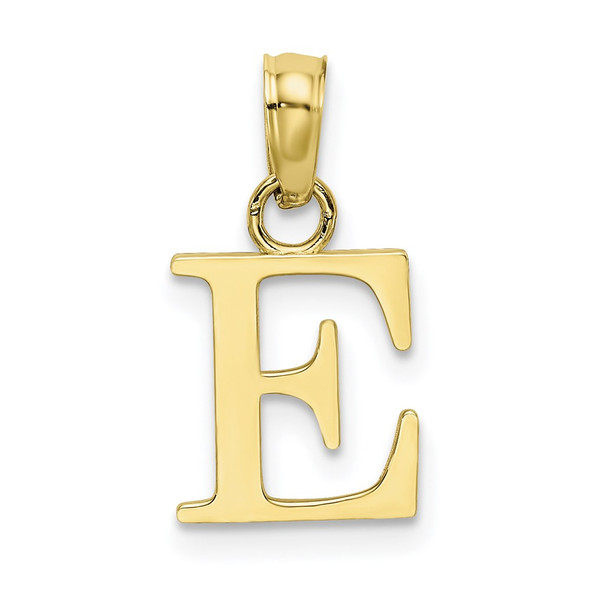 10k Yellow Gold Polished E Block Initial Pendant