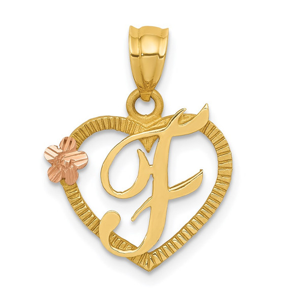 14k Yellow and Rose Gold Initial F In Heart Pendant