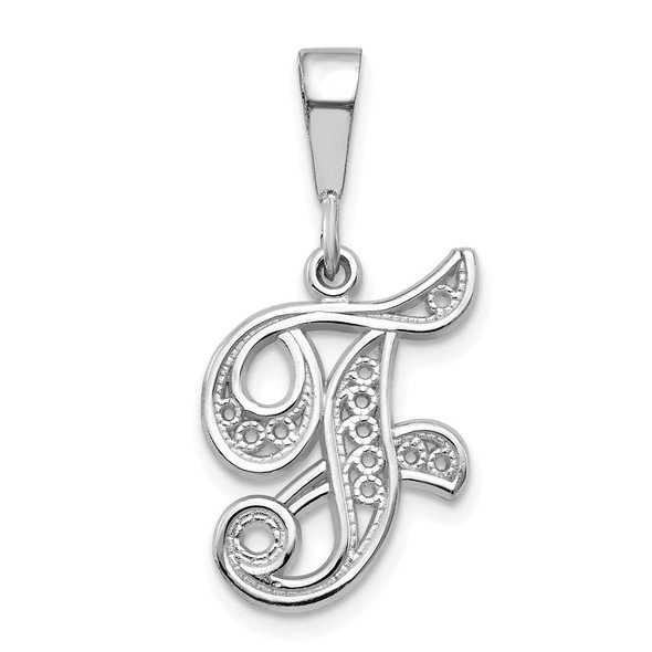14K White Gold Solid Polished Filigree Initial F Pendant