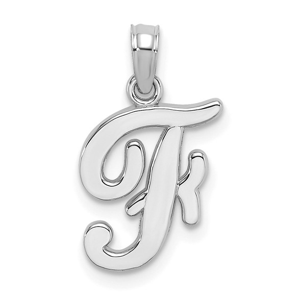 14k White Gold Polished F Script Initial Pendant