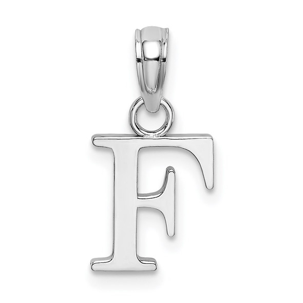 10k White Gold Polished F Block Initial Pendant