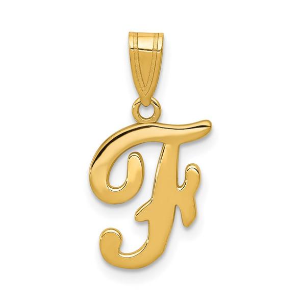 14k Yellow Gold F Script Initial Pendant