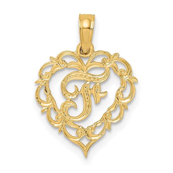 14k Yellow Gold F Script Initial In Heart Pendant
