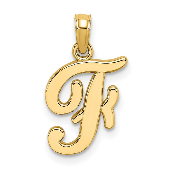 14k Yellow Gold Polished F Script Initial Pendant