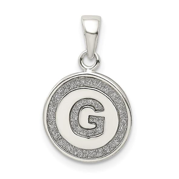 Sterling Silver Glitter Enamel Letter G Circle Pendant