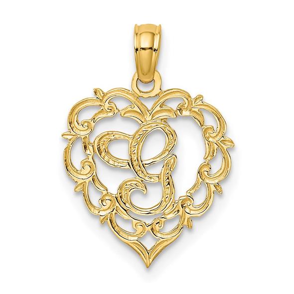 14k Yellow Gold G Script Initial In Heart Pendant