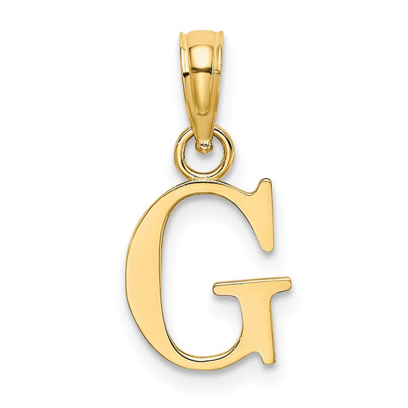 14k Yellow Gold Polished G Block Initial Pendant