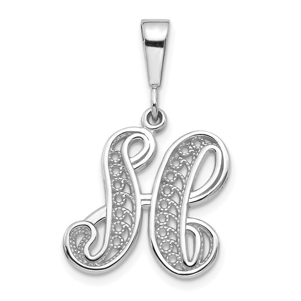 14K White Gold Solid Polished Filigree Initial H Pendant