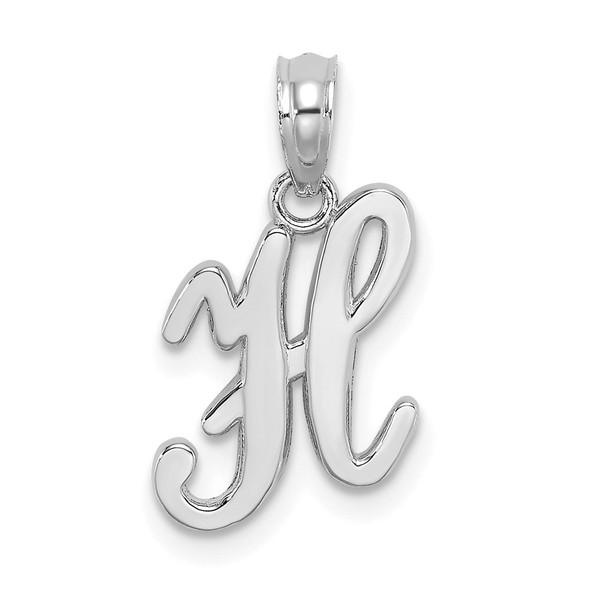 14k White Gold Polished H Script Initial Pendant