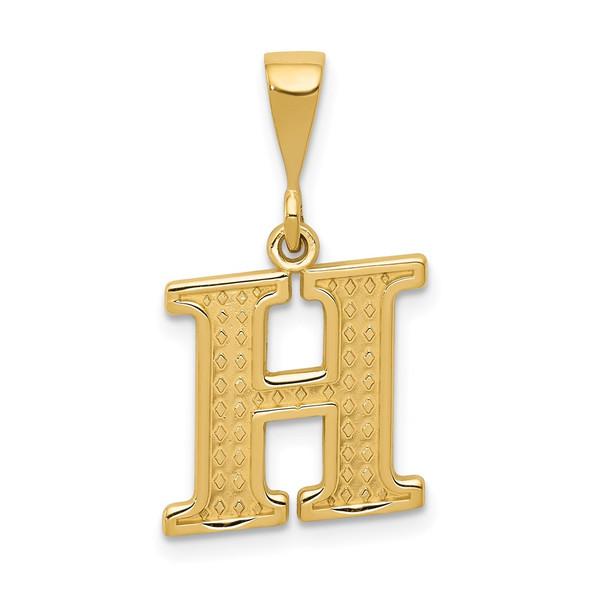 14k Yellow Gold Initial H Pendant C1449-H